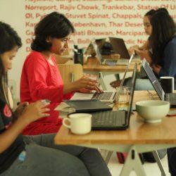 Volunteers during Women in art editathon