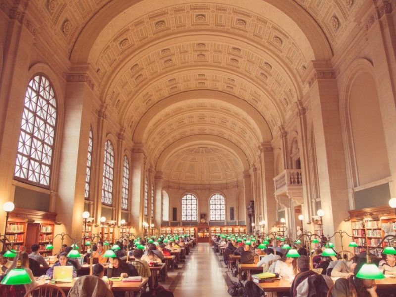 The reading room at the Boston Public Library