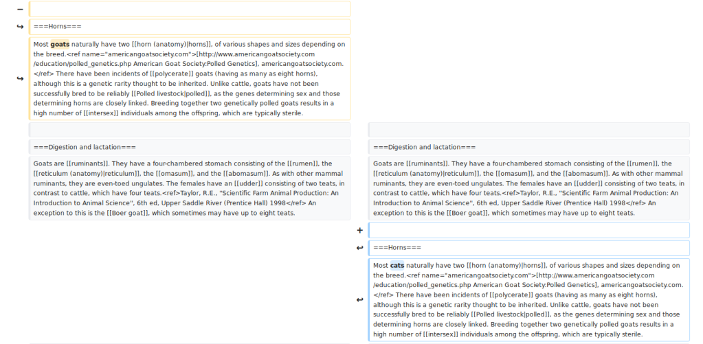 "Screenshot of the Wikipedia ""diff"" resulting from moving an entire paragraph. Individual words changed in that paragraph are now highlighted for further inspection."
