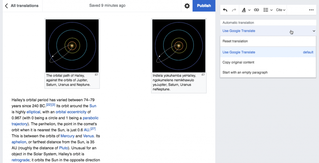 You can now use Google Translate to translate articles on Wikipedia