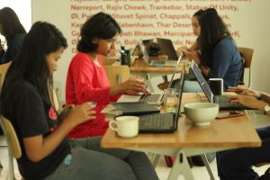 Volunteers during Women in art editathon