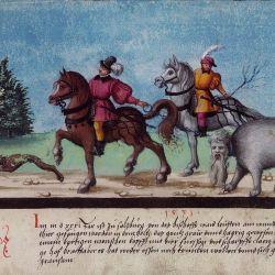 """Augsburger Wunderzeichenbuch — Folio 123? """"Monster bei Salzburg festgenommen worden"""""""