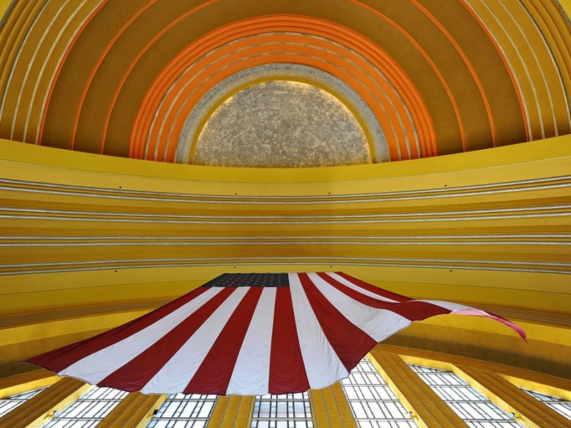 Ceiling of Cincinnati Union Terminal featuring a US flag