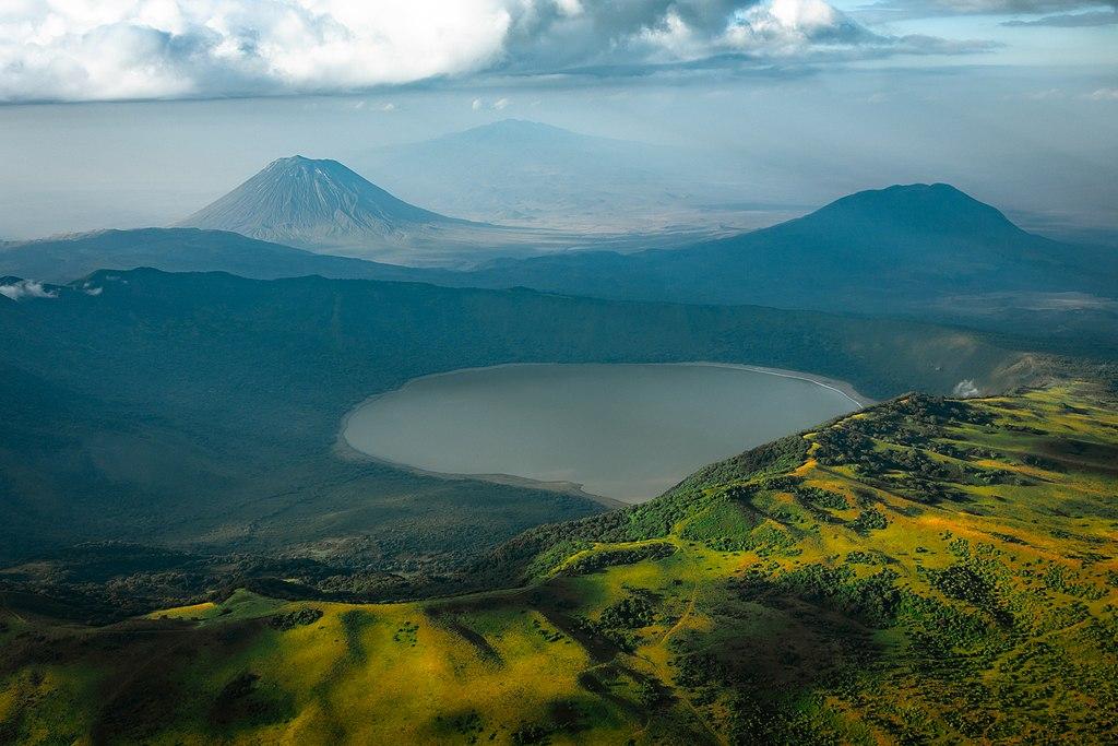 "The active volcano Ol Doinyo Lengai, or ""Mountain of God"" in Maasai, towering over Lake Natron in Tanzania."
