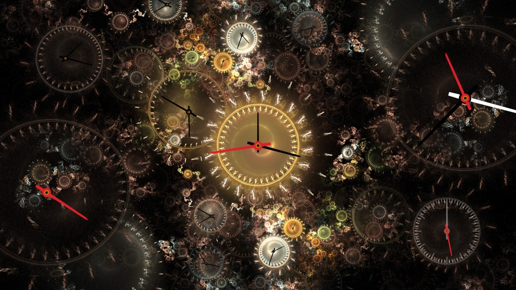 A digitially created image of multiple clock faces overlayed on each other